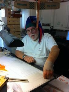 Joe at his drafting table